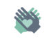 Illustration of helping hands support icons